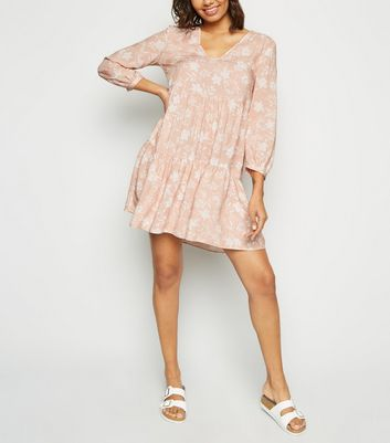 Pink Floral Frill Neck Smock Dress