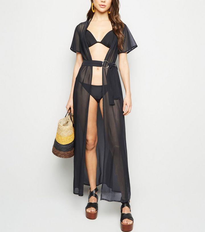429ff62beb Black Mesh Beach Kimono | New Look