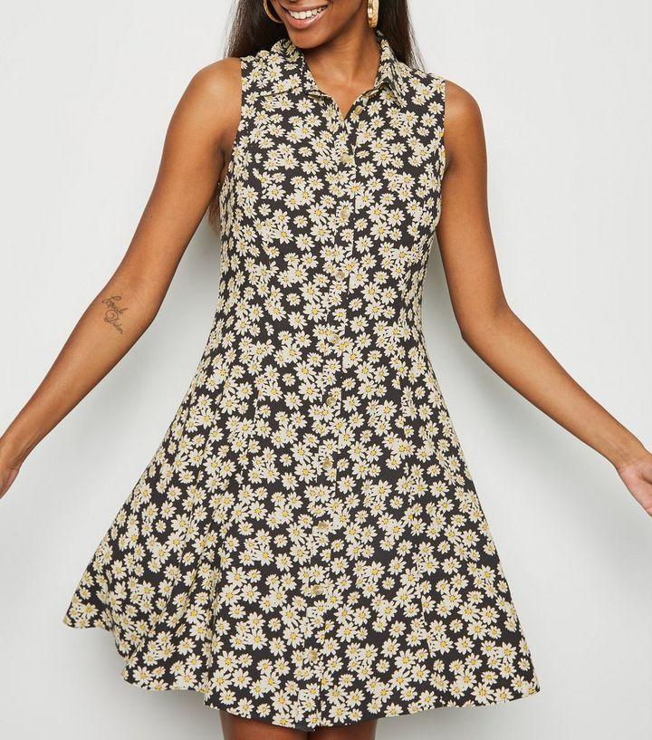 be9bc9020c6fa Black Daisy Print Sleeveless Shirt Dress | New Look