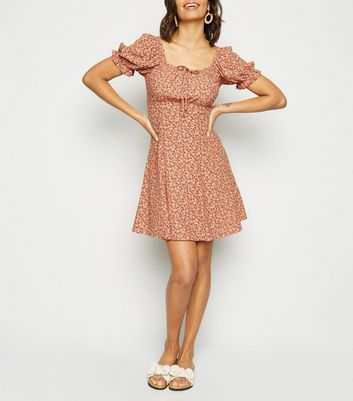 Brown Floral Print Milkmaid Mini Dress
