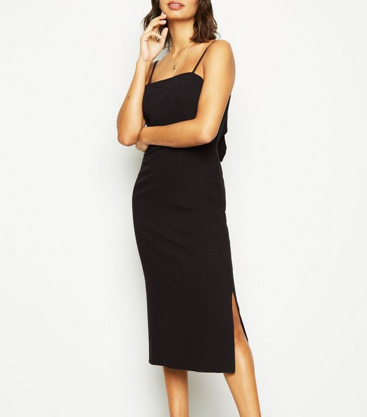 f014dd7aae4 Black Linen Look Tie Back Midi Dress