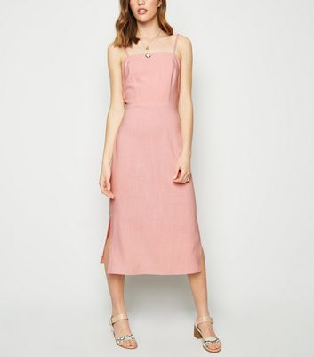 Pink Linen Look Tie Back Midi Dress