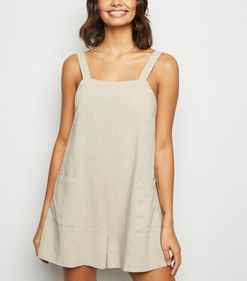 Stone Linen Look Pocket Front Playsuit
