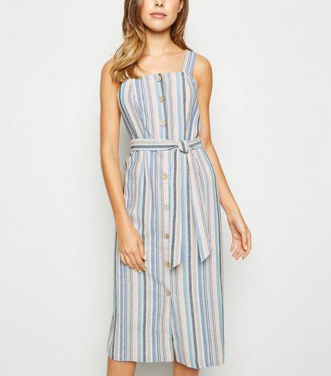 bdb722017c9 ... Blue Stripe Linen Look Button Up Midi Dress ...