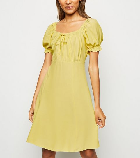 e3201fd7753199 ... Pale Yellow Milkmaid Tea Dress ...