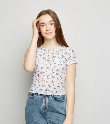 Girls White Ditsy Floral Ribbed Frill Edge T-Shirt