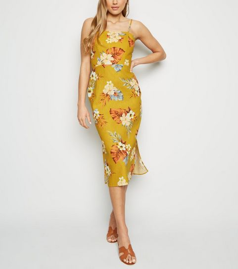 182f1b38cdb799 ... Mustard Tropical Print Linen Blend Midi Dress ...