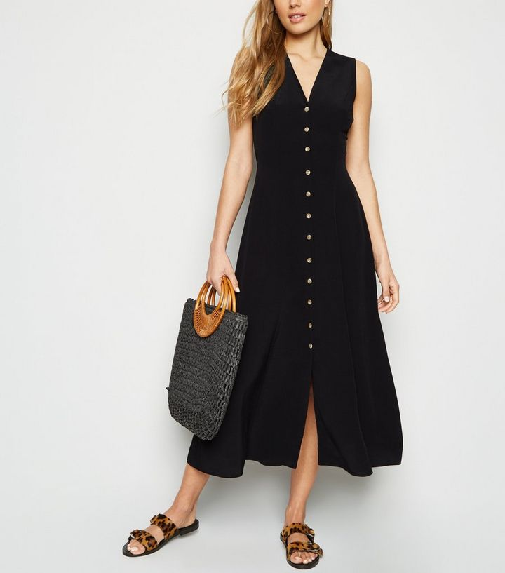 a15a278e064 Black Tie Back Button Up Midi Dress
