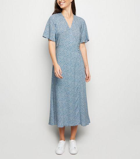 6cd8e46d47 ... Blue Ditsy Floral Button Up Wrap Midi Dress ...