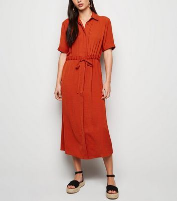 Rust Drawstring Waist Midi Shirt Dress