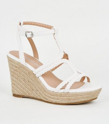 White Plait Strap Espadrille Wedges