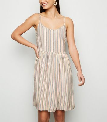 White Stripe Linen Look Smock Sundress