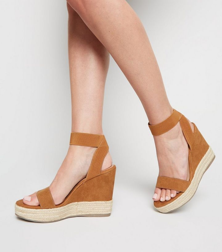 e89f6269c0a Tan Suedette Elastic Strap Espadrille Wedges Add to Saved Items Remove from  Saved Items