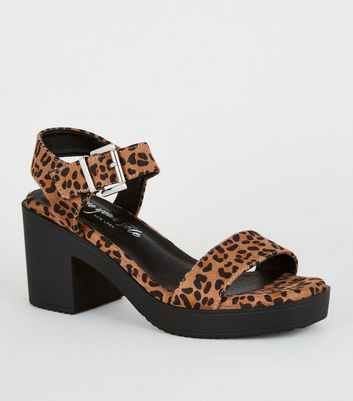 Stone Leopard Print Chunky Sandals