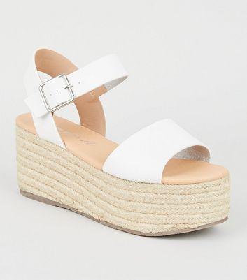 White Leather-Look Espadrille Flatform