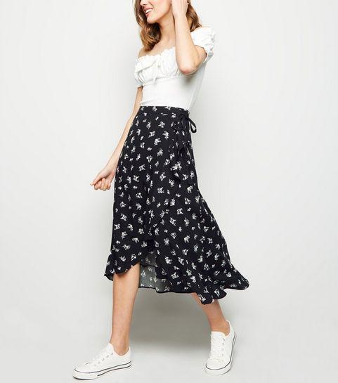 dd52611848a ... Black Ditsy Floral Frill Wrap Midi Skirt ...