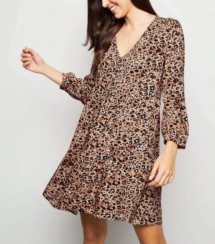 fdf9eb75ff7f Brown Brushstroke Animal Print Smock Dress | New Look