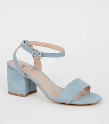 Girls Pale Blue Suedette 2 Part Sandals