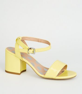 Girls Yellow Patent Block Heel Sandals