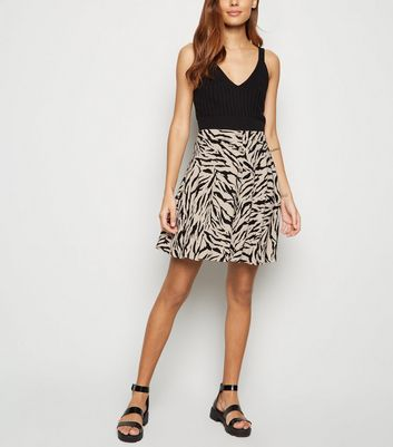 Brown Tiger Print Button Up Mini Skirt