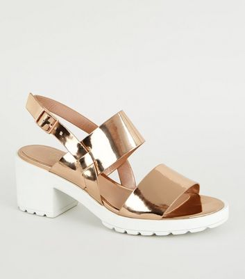 Girls Rose Gold Chunky Heel Sandals