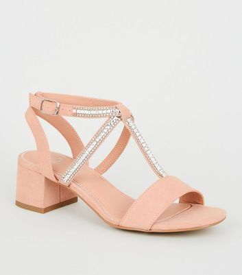 Girls Nude Suedette Diamanté Strap Block Heels