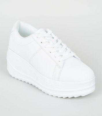 White Lace Up Wedge Heel Trainers | New