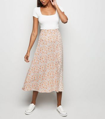 White Floral Side Split Midi Skirt
