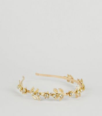 Gold Metal Diamanté Flowers Alice Band