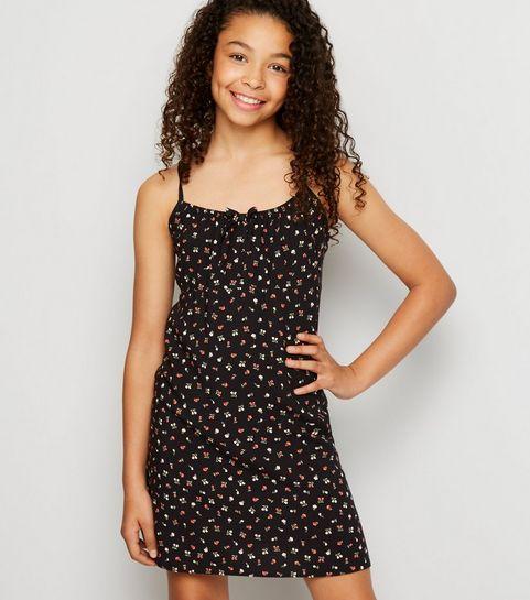 f1a6b10ee7f1b ... Girls Black Floral Cami Dress ...