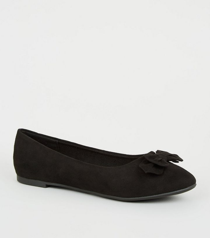1069ae5a976 Girls Black Suedette Bow Ballet Pumps Add to Saved Items Remove from Saved  Items