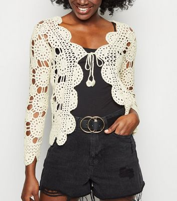 Cream Crochet Long Sleeve Cardigan