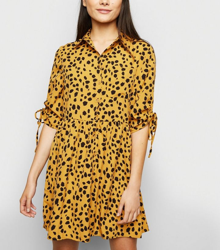 5bc5c11d9ae1 Influence Mustard Animal Print Shirt Dress | New Look