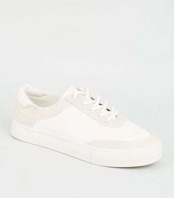 Girls White Leather-Look Lace Up Trainers