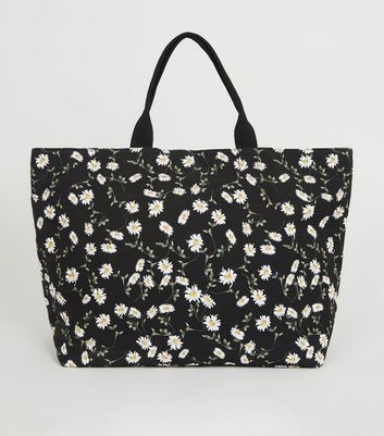 Black Daisy Canvas Tote Bag