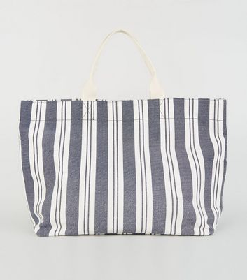 Blue Stripe Print Canvas Tote Bag