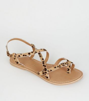 Stone Leather Leopard Print Strappy Flat Sandals