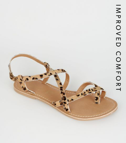 9bbd3011549 ... Stone Leather Leopard Print Strappy Flat Sandals ...