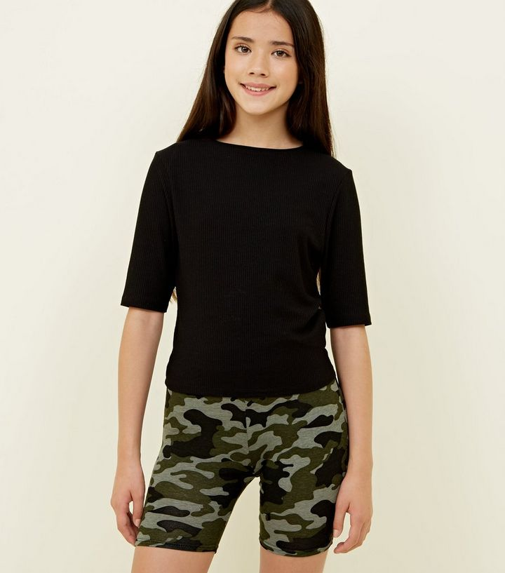 fec711ee22e05 Girls Green Camo Cycling Shorts | New Look