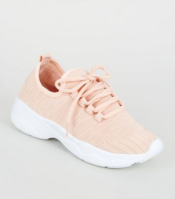 Girls Pale Pink Ribbed Knit Trainers