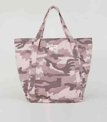 Purple Camo Print Tote Bag