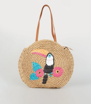 Stone Straw Effect Toucan Tote Bag