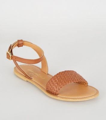 Tan Leather Woven Strap 2 Part Sandals