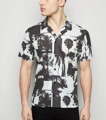 White Palm Print Short Sleeve Shirt