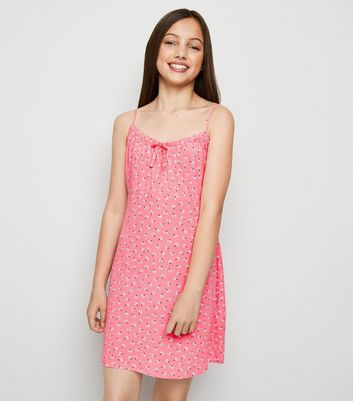 Girls Pale Pink Ditsy Floral Bow Neck Dress