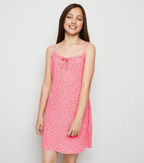 8c58798c8e7 ... Girls Pale Pink Ditsy Floral Bow Neck Dress ...