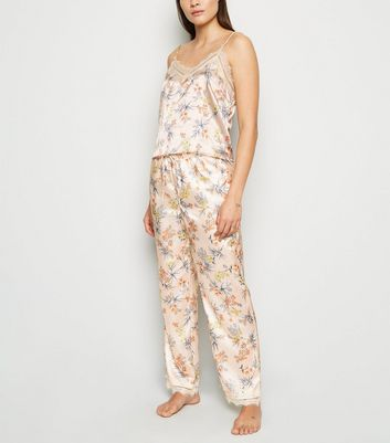 Pale Pink Floral Satin Trousers