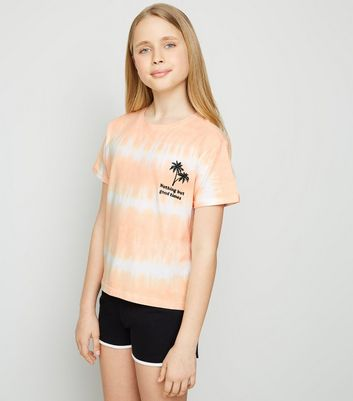 Girls Coral Tie Dye Good Times Slogan Pyjama Set