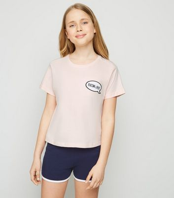 Girls Pink Boring Next Slogan Pyjama Set