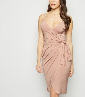 Stone Tie Side Wrap Mini Dress